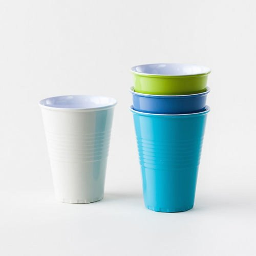 What Is It Reusable Blue, Green & White Melamine Cups, 15 Ounce, Set of 4