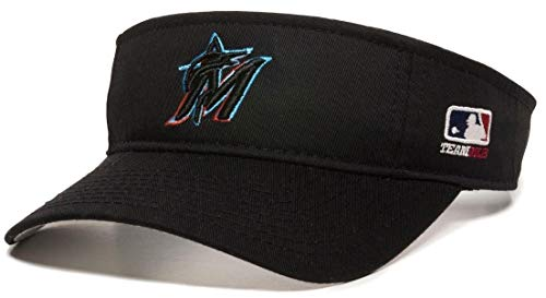 OC Sports Miami Marlins MLB Black 2019 New Logo Golf Sun Visor Hat Cap Adult Men's Adjustable ()