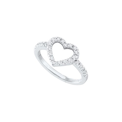 10kt White Gold Womens Round Diamond Simple Heart Outline Ring 1/5 Cttw by JawaFashion