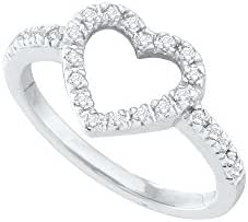 10k White Gold Round Prong-set Natural Diamond Womens Heart Love Valentines Fine Ring (.20 cttw.)