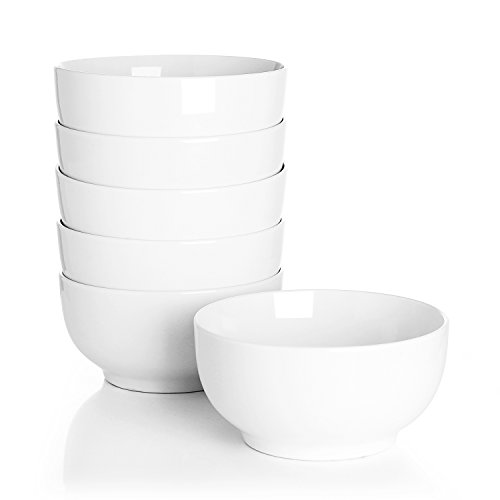 Sswoart 10-Ounce Porcelain Bowls for Ice Cream Dessert and Snacks - Set of 6, (Elegant 10 Ounce Ceramic)