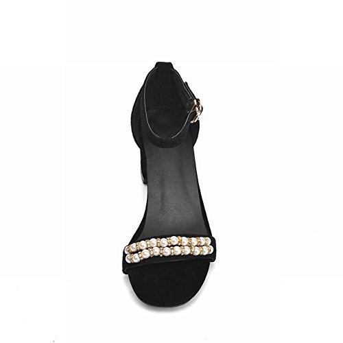 Beaded Womens Heel Chic Rhinestone Strap Black Elegance Buckle Mid Sandals Carolbar Chunky Ankle q4cvwSCXX
