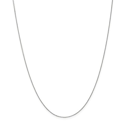 14k Gold Diamond-Cut Round Cable Chain Necklace with Lobster Clasp (0.5mm) - White-Gold, 18 -
