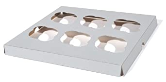 "Southern Champion Tray 10013 Clay Coated Kraft Paperboard 6-ct Cupcake Insert, 9-7/8"" Length x 9-7/8"" Width x 7/8"" Height (Case of 200)"