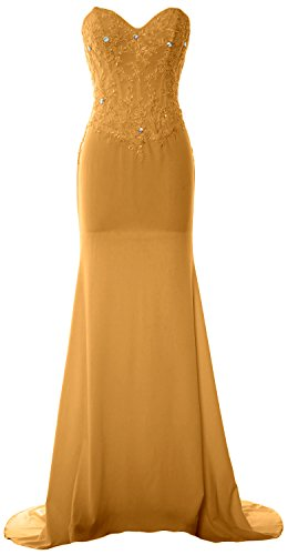MACloth Women Mermaid Strapless Jersey Prom Dress Wedding Party Evening Gown Gold