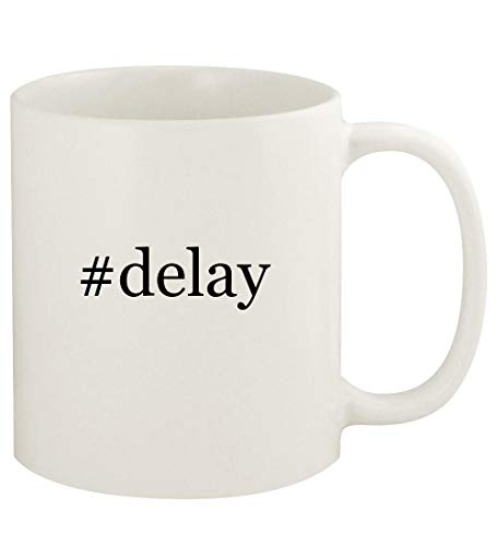 #delay - 11oz Hashtag Ceramic White Coffee Mug Cup, White
