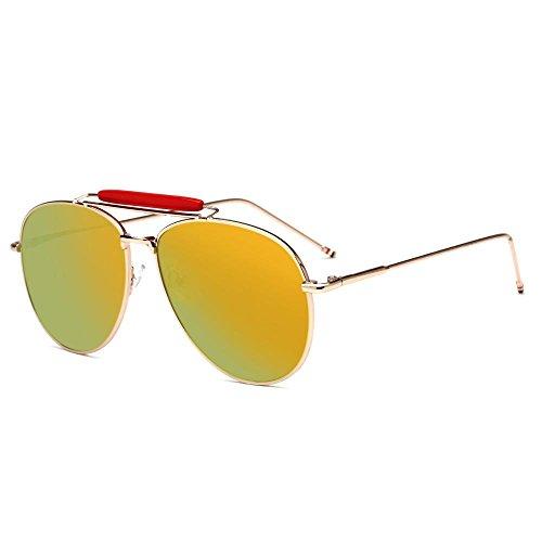 color A Gafas de gafas gafas de sol de de sol Europa de metal Estados Aoligei y hombres sol los Unidos moda tendencia de brillantes tAdngqqw