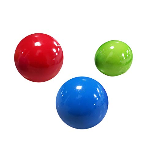 Sensory Stress Ball Toy Set for Kids and Adults 4Pcs Sticky Wall Balls Filled with Water Beads to Relax Decompression Toys Balls Glow in The Dark Stress Relief Balls (No Luminous, 1.77inches)