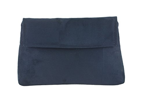 Navy Faux Suede Clutch Bag - 6