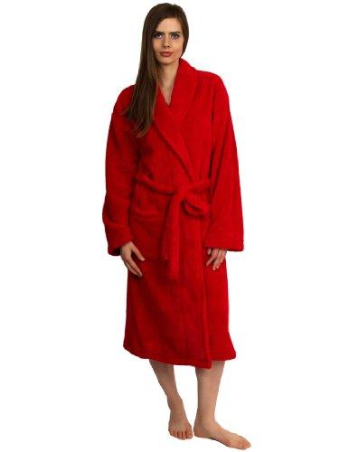 TowelSelections Women's Super Soft Plush Bathrobe Fleece Spa Robe Large/X-Large Red