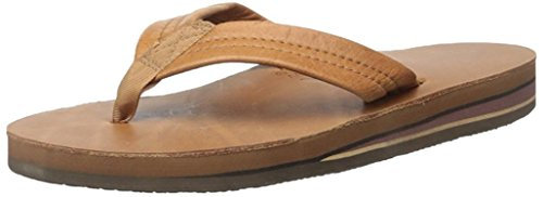 Rainbow Mens Double Layer Leather Sandals - Classic Tan -- X-Large
