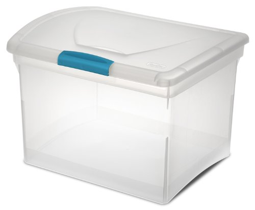 Sterilite 18788604 File Box, Clear with Blue Aquarium Latch, 4-Pack