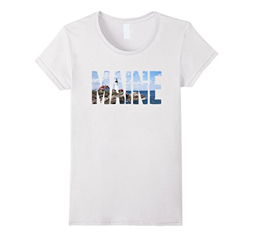 Womens Cool Design  Maine T Shirt Small White