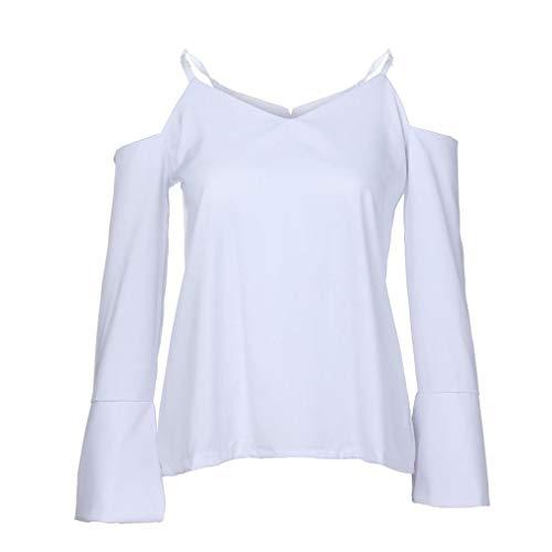 Donna Bianco Moda Blouse Maglietta Elegante Canotte Camicetta Casuale Shirt Camicia Manica T Lunga 77Arx1