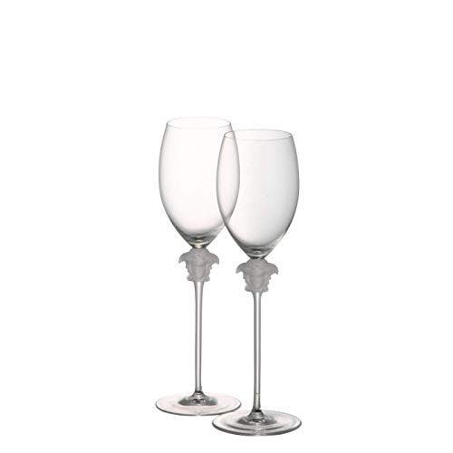 Rosenthal Versace White Wine Glasses Medusa Lumiere - Elegant Crystal Stemware Designed by Gianni Versace - Set of 2 Glasses