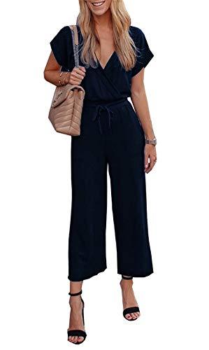 PRETTYGARDEN Women's Casual Short Sleeve Elastic Waist Jumpsuit Rompers Black (Navy, Small) ()