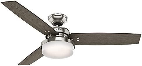 Hunter Indoor Ceiling Fan with LED Light and remote control – Sentinel 52 inch, Brushed Nickel, 59157