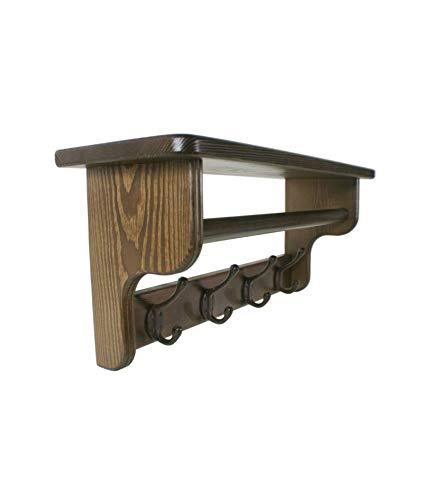CAL FUSTER - Colgador Perchero con Sombrerero y Barra para Bufandas de Madera Color castaño. Medidas: 28x67x20 cm.