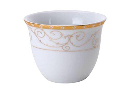 Turkish Arabic Coffee Cups Gawa Set of 12 Gold Banded Cups (Gold Swirls)