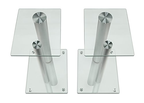 Mount-It! Floor Stands Theaters, 18 Inch 22 Lbs Glass and Aluminum, and Silver,