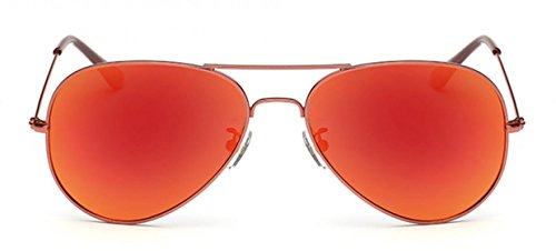 Gafas sol Protección Metal mujer bolsa UV400 Polarized Frame Roja de Aviator Lente para WODISON con EvwZxdq4d