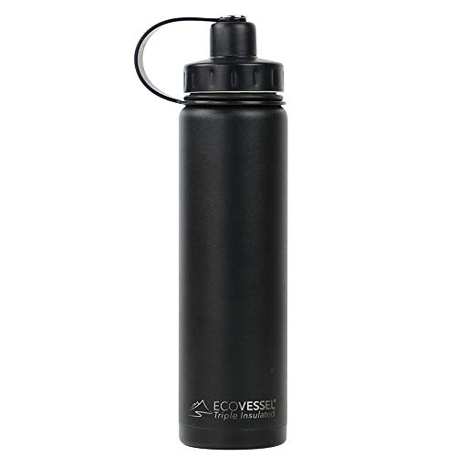 EcoVessel BOULDER TriMax Vacuum Insulated Stainless Steel Water Bottle with Versatile Stainless Steel Top and Tea, Fruit, Ice Strainer - 24 ounce - Black Shadow