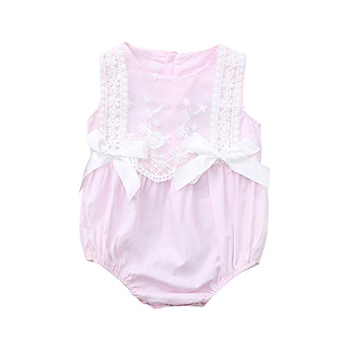 WOCACHI Toddler Baby Girls Clothes, Infant Baby Girl Kid Newborn Lace Bow Floral Romper Bodysuit Sunsuit Outfits Back to School Easter Egg Costume Parade Bunny Lily Eggs Roll Basket Mother's Day Pink]()