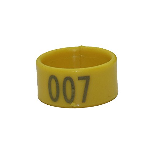 ADHERETOFLY 16/18/20mm Quail Leg Bands Numbered 1-100 Birds Pigeon 10 Colors Chicken Leg Plastic Rings (16 mm, Yellow) (Plastic Chicken Rings)