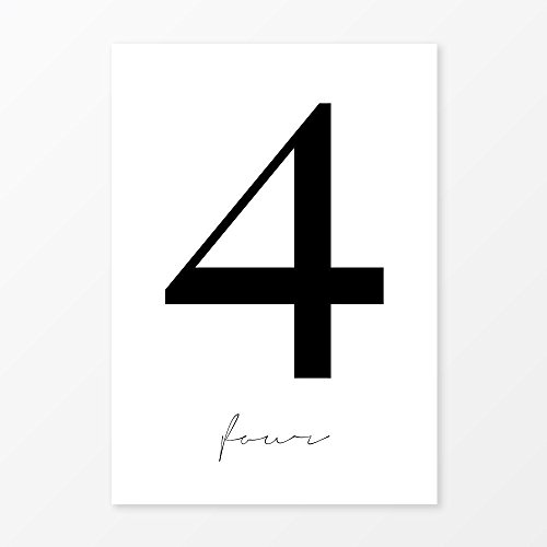 Number Four Print, Popular Scandinavian Wall Art, Size 5x7, 8x10, 11x14 and more, Minimalist Home - Style Vogue Font