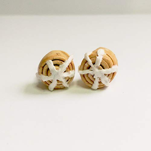 Cinnamon Roll Bun with Icing Earrings Faux Food Drink Jewelry Raisin Birthday Halloween Christmas ()