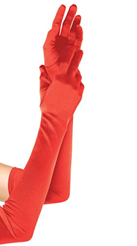 Elegant Women's Satin Elbow Length Opera / Prom Gloves, Red (Red Opera Gloves)