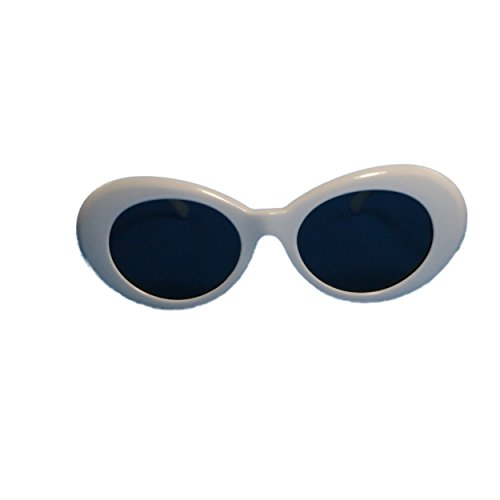 CLOUT GOGGLES White Oval Round Sunglasses, Bold Retro Kurt Cobain style, INCLUDING - Dollar 8 Glasses