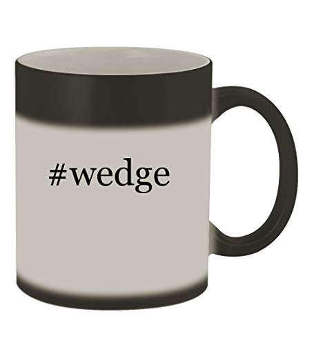 Tom Combo Stand - #wedge - 11oz Color Changing Hashtag Sturdy Ceramic Coffee Cup Mug, Matte Black