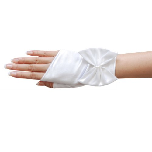 (ZaZa Bridal Shiny Stretch Satin Short Fingerless Gloves w/Bow and Faux Pearl Accent-White)