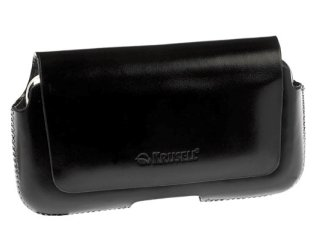 Krusell Hector Medium Wide Universal Leather Case Multidapt with Spring Clip (Black)
