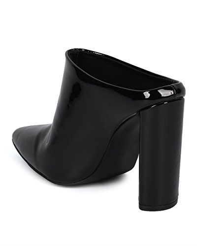 Alrisco Women Block Heel Mule - Slip A Punta Slanciata - Dressy Trendy Versatile Transizione Grosso Tacco - Hd22 By Qupid Collection Black Patent