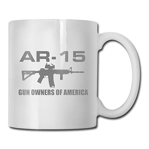 Porcelain Coffee Mug Gun Gray Word Ceramic Cup Tea Brewing Cups for Home Office ()