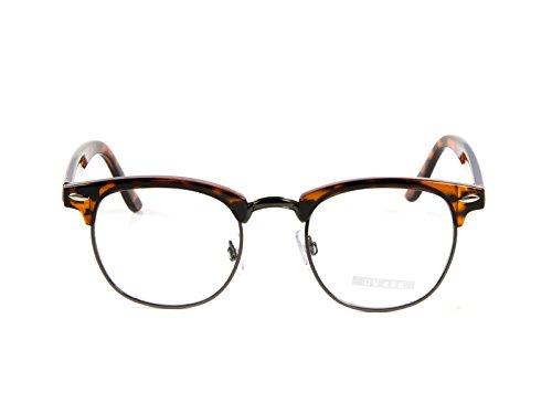 Goson Classic Tortoise Gunmetal Frame/Clear Lens Horned Rim Clubmaster Glasses 50mm