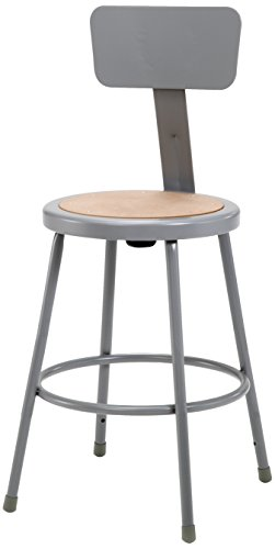 National Public Seating 6224B-CN  Grey Steel Stool with 24'' Hardboard Seat and Backrest (Pack of 4) by National Public Seating