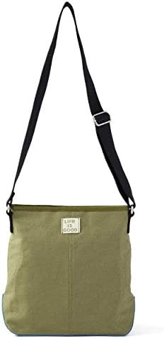 LIFE IS GOOD Women's Wayfarer Crossbody Blended Daisy, Fatigue Green, One Size