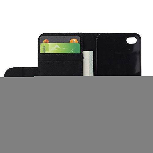 Be Good Phone Accessory // Caso del tirón Billetera de Cuero Titular de la tarjeta Carcasa Funda de Protección para Apple Iphone 4 / 4S // Turkish Angora White Shorthair Cat