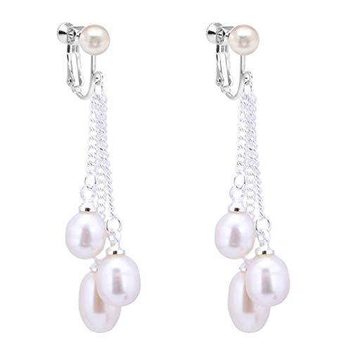 Clip on Earrings Multi-Color Cultured Freshwater Pearl Dangle Earrings 1.5 Inch Drop Women White