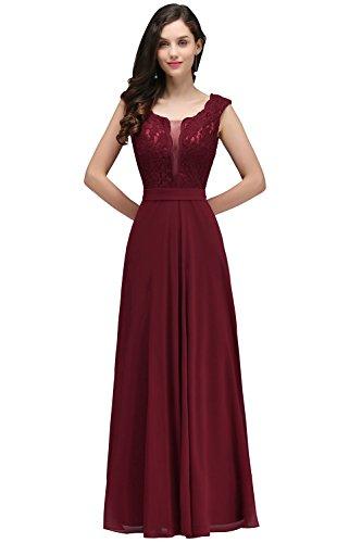 Lang Spitze Ärmellos Schönes Elegant Abendkleid Ballkleid Mit Weinrot Brautjungfernkleid pPzWw47Bq