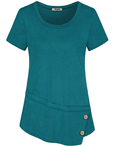 Hibelle Tunic Tops for Leggings for Women, Ladies Short Sleeve Summer Casual Flare Shirts Round Neck Buttons Decor Ruffle Irregular Hem Stretch Dressy Smooth Blouses Dark Cyan X Large
