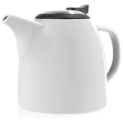 Tealyra - Drago Ceramic Teapot White - 37oz  - Large Stylish