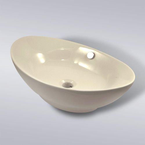 Decor Star CB-020 Bathroom Egg Porcelain Ceramic Vessel Vanity Sink Art Basin ** Beige **