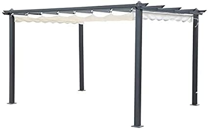 Outflexx Pergola gris aluminio, color crema, 300 x 400 x 20 cm