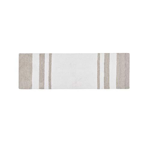 MISC Taupe Reversible Bath Mat Rectangle, White Stripe Plush Bathroom Runner Reversible Carpet, Luxurious Spa Vanity Tub Shower Stall Washroom Rug Vertical Stripes Brown Beige Tan, 24x72 Cotton
