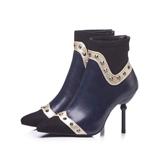 Mujer DEDE Sandalette de Invierno Mujer Cabezas Tubo Botas Tacones bajo Sexy Altos e para Mujer Botas Puntiagudas de de blue otoño Botas Botas Zapatos Remaches w8dPnpqWdr