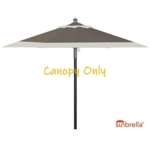 9ft Round Universal Canopy Replacement for Market Umbrella (Sunbrella- Natural w/Graphite Trim)
